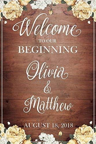 Welcome to our Beginning, Custom Wedding Sign, Wedding Reception Sign, Brown Wedding Banner, Wedding Party Signs, Wedding, Handmade Party Supply Poster Print, Size 36x24, 18x24 -