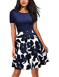 Women's Casual Flare Floral Contrast Evening Party Mini Dress