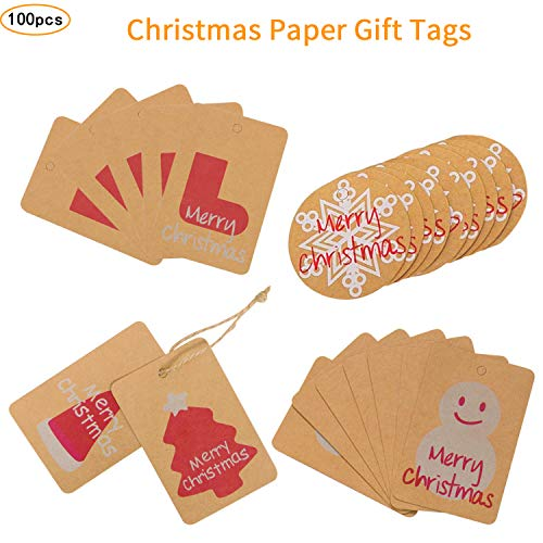 Christmas Gift Tags 100 Pcs,Favor Tags Thank You Gift Tags Place Cards Name Tags Blank Cards Hang Tags Party Decoration Kraft Paper Tags,Cookie Candy Biscuit Gift Tags for Christmas - 5 Patterns Mix