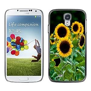 - Sun Flowers Flower Pattern - - Monedero pared Design Premium cuero del tir¨®n magn¨¦tico delgado del caso de la cubierta pata de ca FOR Samsung Galaxy S4 i9500 i9508 i959 Funny House