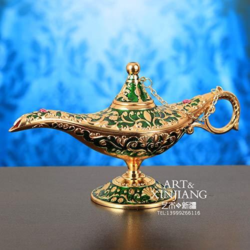 Large Size Vintage Metal Aladdin Genie Lamps Oil Lamps Home Decor (Green, Big)
