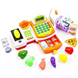 KIDAMI 59 Pieces Pretend Play Cash Register Toy for Kids with Realistic Actions (Scanner, Convey Belt, Calculator, Microphone, Drawer) and Varieties of Grocery Accessories