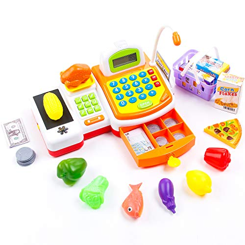 KIDAMI 59 Pieces Pretend Play Toy Cash Register Gift for Kids with Realistic Actions (Scanner, Convey Belt, Calculator, Microphone, Drawer) & Varieties of Grocery Accessories