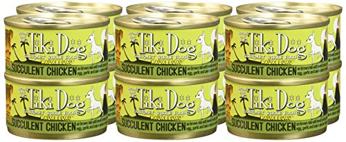 Tiki Pets Gourmet Whole Food 12 Pack Kauai Luau Succulent Chicken on Brown Rice with Sweet Potato, Tiger Prawns, Egg, Kale, Garlic In Lobster Consomme Pet Food