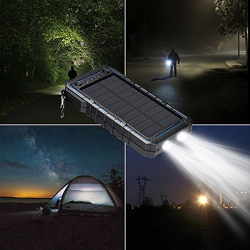 Solar Charger, Solar Power Bank, 13500mAh Portable Solar Phone Charger External Solar Panel Battery Pack Phone Charger with Dual USB and 2 LED Flashlights for iPhone X, Samsung S9/Note 8 and More by Ayyie (Image #1)