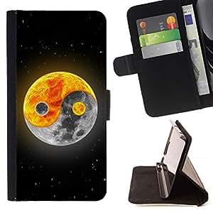 For Samsung Galaxy S5 Mini (Not S5), SM-G800 Case , Yin yang Luna Sol- la tarjeta de Crédito Slots PU Funda de cuero Monedero caso cubierta de piel