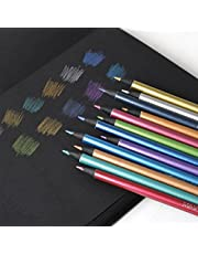 Starsouce Metallic Colored Pencils Non-toxic Black Wood Drawing Pencils Pre-Sharpened 12 Assorted Colors Wooden Sketching Pencil Set Premium Art Pencils for Kids Children Adults Artists Coloring Book Art Craft