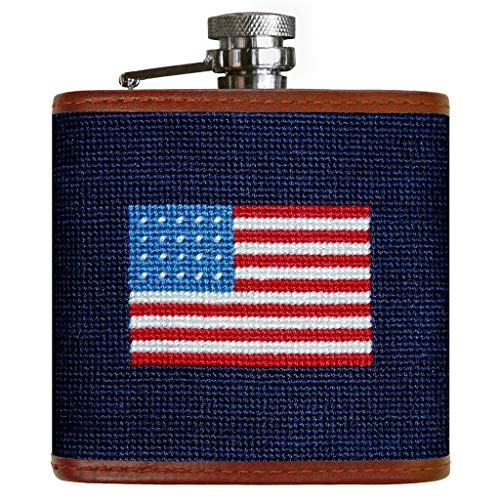 American Flag Needlepoint Flask in Navy by Smathers & Branson