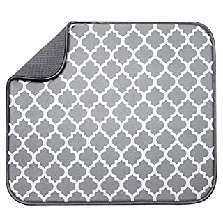 S&T INC. Absorbent, Reversible Microfiber Dish Drying Mat for Kitchen, 16 Inch x 18 Inch, White Trellis