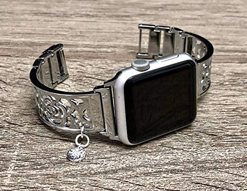 - Shiny Silver Metal Bracelet For Apple Watch All Series 38mm 40mm 42mm 44mm Handmade Flowers Design Jewelry Apple iWatch Band North Star CZ Charm Pendant Adjustable Size Watch Bangle