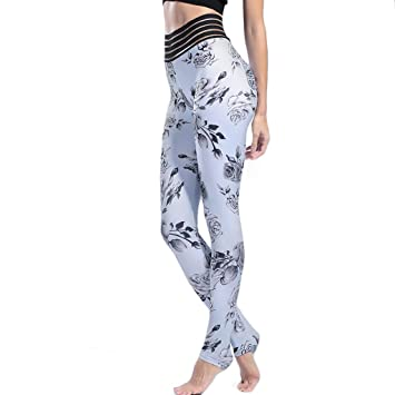 eef13d360aa684 Flower Patterned Sport Leggings Athletic Gym Tights Women Fitness Back  Pockets Butt Lift Yoga Pants Jogger