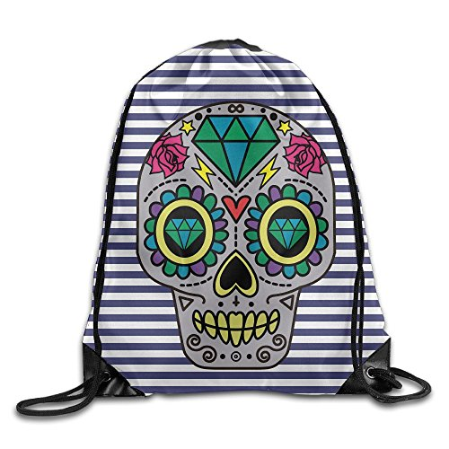 Sugar Skull Homemade Costume (Sugar Skull Print Men's Women's Drawstring Bag Beam Mouth Shoulders Backpack 17
