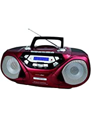 HANNLOMAX HX-313CD Portable CD/MP3 Player, Cassette Recorder, AM/FM Radio, USB Port for MP3 Playback, Remote Control, Aux-in, LCD Display, AC/DC Power Source, High Power Output (Red)