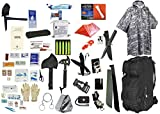 2 Person Supply 3 Day Emergency Bug Out S.O.S. Food Rations, Drinking Water, LifeStraw Personal Water Filter, First Aid Kit, Tent, Blanket, Backpack, ACU Poncho + Essential 21 Piece Survival Gear Set
