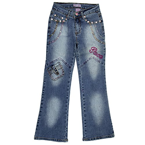 Paco Girls Stylish Blue Jeans With Embroidered and Rhinestone Accents Size (Rhinestone Girls Jeans)