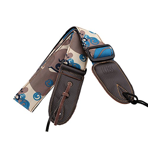 Guitar Strap, Mugig Shoulder Strap for Guitar, Octopus Pattern, 36.6-61 Adjustable, Canvas Material, Camouflage Style, 2inch Width with Leather End (Camouflage/Blue)