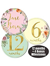 Newborn Baby Girl Gold Floral Monthly Stickers - Great Shower Registry Gift or Scrapbook Photo Keepsake BOBEBE Online Baby Store From New York to Miami and Los Angeles