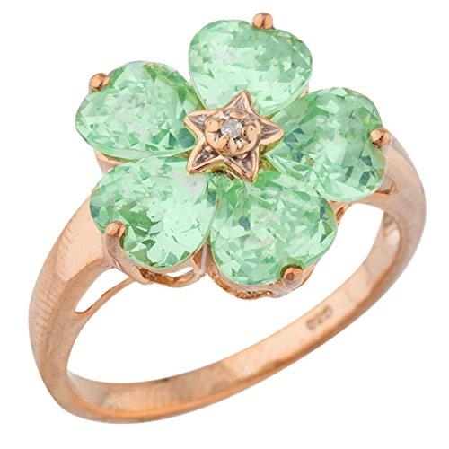Elizabeth Jewelry 5 Hearts Simulated Green Sapphire & Diamond Heart Flower Design Ring 14Kt Rose Gold Plated Over .925 Sterling - 14kt Sapphire Gold Ring Jewelry