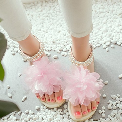 TAOFFEN Strap T Pink Flip Sandals Women 850 Flop with Beach Bohemia Flower Flat Rxr6R