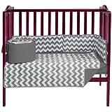 BabyDoll Chevron Dot Port-A-Crib Bedding Set, Grey
