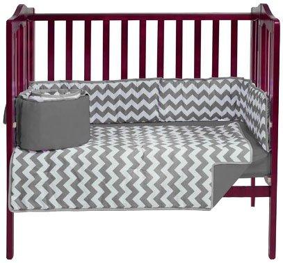 BabyDoll Chevron Dot Port-A-Crib Bedding Set, Grey Baby Doll Bedding 705pac