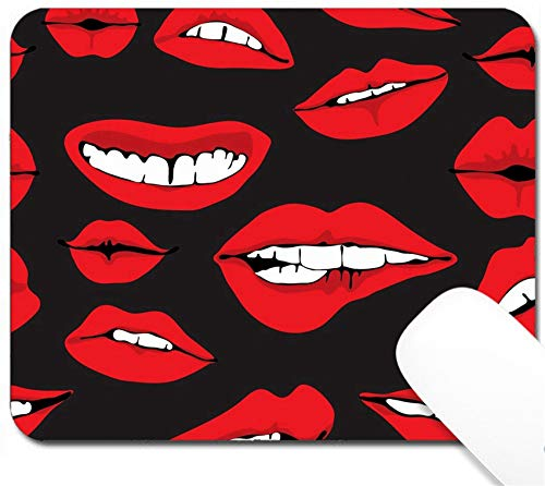 MSD Mouse Pad with Design - Non-Slip Gaming Mouse Pad - Image ID: 13777125 Seamless Background with Different red Lips Over Dark Funny illustra