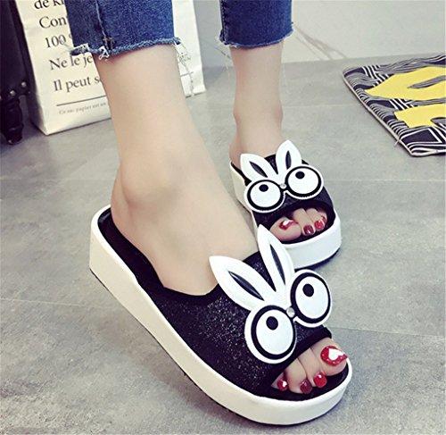 negro Sandalias las color de historieta manera la gruesas para mujeres del verano del NEWZCERS sólido la de BxF1RaFq