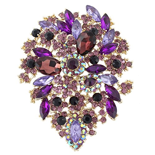 (EVER FAITH Women's Austrian Crystal Vintage Style Flower Leaf Cluster Brooch Pendant Purple Gold-Tone)