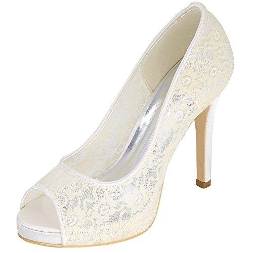 Loslandifen Mujeres High Heels Bombas De Moda Peep Toe Boda Encaje Zapatos De Novia Marfil