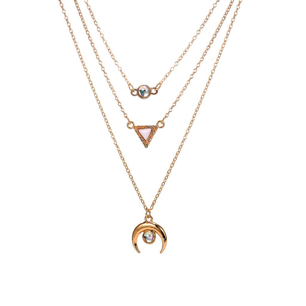 Agelloc Minimalism Layered Necklace Set Simple Geometric Crescent Moon Triangle Round Beads Pendant Choker Chain Dainty Necklace Set for Women Girls 3pcs Detachable