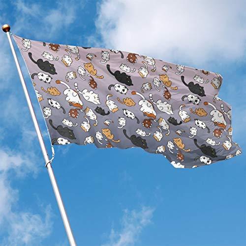 YUANSHAN Home Garden Flag Cute Cat Wallpaper Polyester Flag Indoor/Outdoor Wall Banners Decorative Flag 3' X 5']()