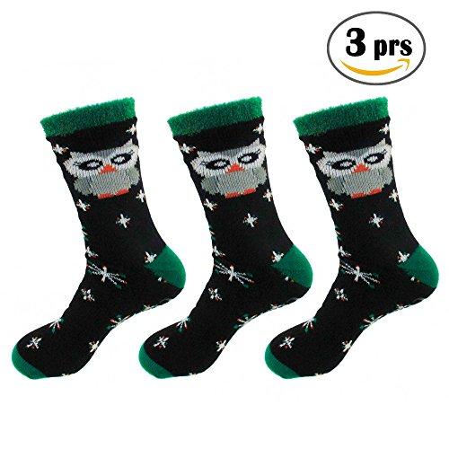 Christmas Double Layer Extra Thick Soft Warm Fuzzy Crew Socks - 3prs, Xmas 02 Owl