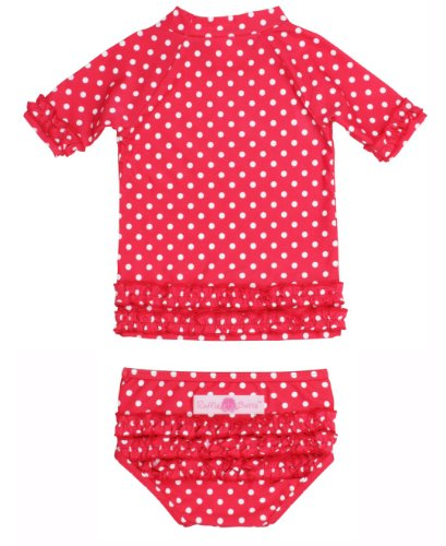 RuffleButts® Infant / Toddler Girls Polka Dot Ruffled Rash Guard Bikini - Red - 18-24m