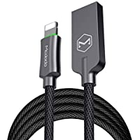 iPhone charger cable 6 Feet /1.8 meters Smart LED Auto Disconnect lightning cable charger Nylong Braided USB lightning cable compatible with iPhone 8 X 7/ 7 Plus/6/6s/6 plus/6s plus/ 5s/5c iPad iPod