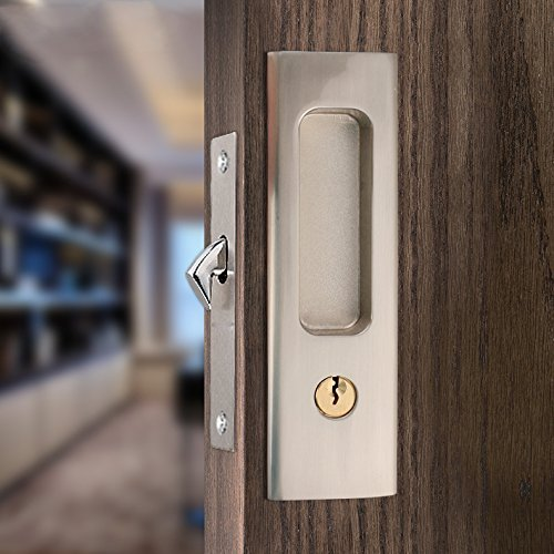 CCJH Invisible Door Locks Handle with 3 Keys for Sliding Barn Wooden Door Furniture Hardware (Sliver)