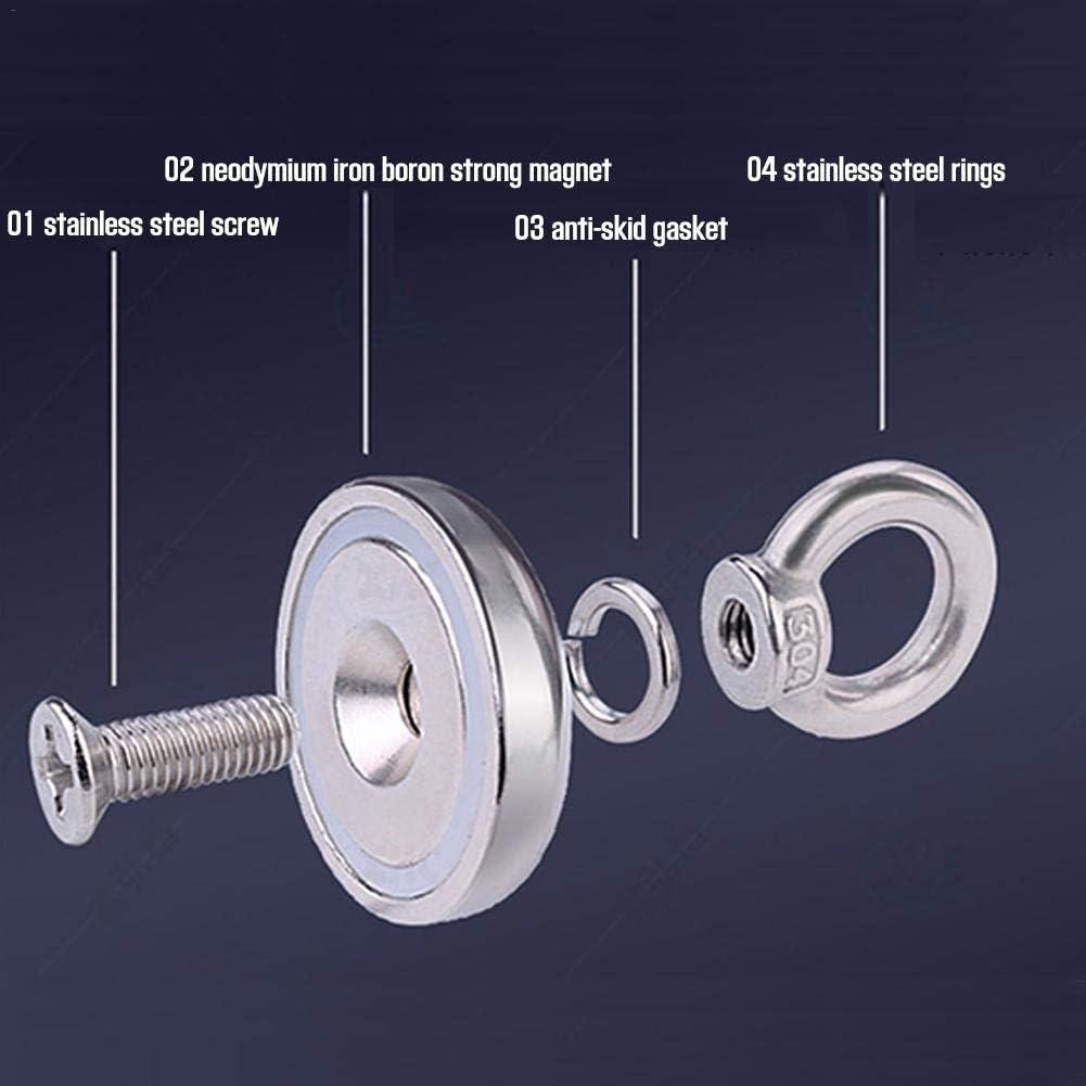 Super Power Pulling Force 60 kg 85 kg 60 mm 70 mm /Ösenmagnet Neodym Eyebolt Magnet mit Ringschraube und 20 m Seil Durchmesser 48 mm 110 kg f/ür Magnetfischen und Bergung im Fluss