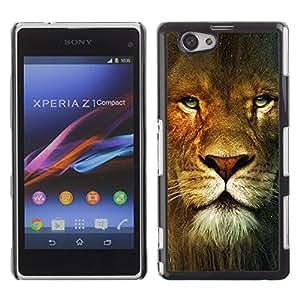 Caucho caso de Shell duro de la cubierta de accesorios de protección BY RAYDREAMMM - Sony Xperia Z1 Compact D5503 - Lion Portrait Green Eyes Wild Big Cat Africa