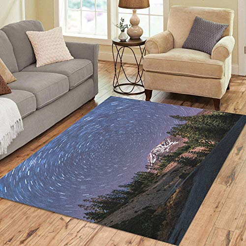 (Semtomn Area Rug 3' X 5' Long Exposure Captures The Star Trails Around North Over Home Decor Collection Floor Rugs Carpet for Living Room Bedroom Dining Room)