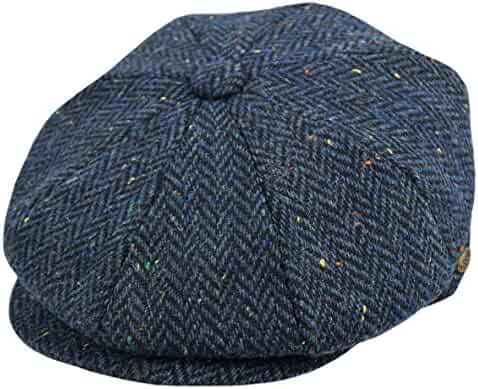 aac33099216a Men's Wool Newsboy Cap, Herringbone Driving Cabbie Tweed Applejack Golf Hat