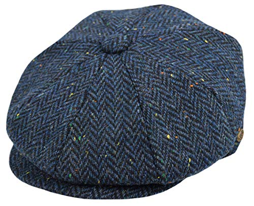 Men's Wool Newsboy Cap, Herringbone Driving Cabbie Tweed Applejack Golf Hat (2746-Navy Herring, X-Large)