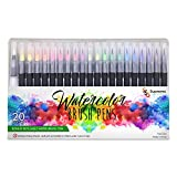 #10: Watercolor Brush Pens Set, 20 Color Markers + 1 Bonus Refillable Water Brush Pen, Soft Tip for Art, Drawing, Coloring Page, Calligraphy, Sketching and Paint Effects, Portable Non-Toxic, Water Based