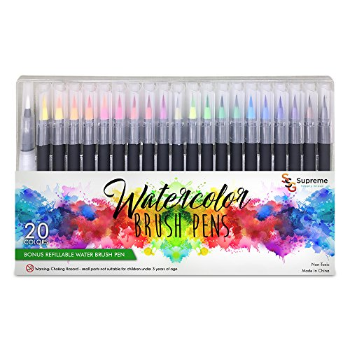 Watercolor Brush Pens Set, 20 Color Markers + 1 Bonus Refillable Water Brush Pen, Soft Tip for Art, Drawing, Coloring Page, Calligraphy, Sketching and Paint Effects, Portable Non-Toxic, Water Based by Supreme Supply Group