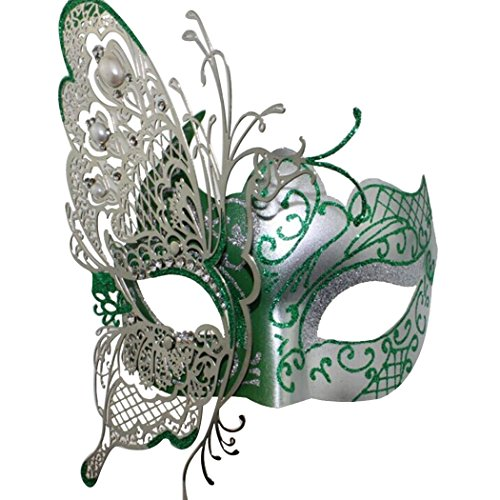 Mysterious Venetian Butterfly Lady Masquerade Halloween Party Mask Green ()