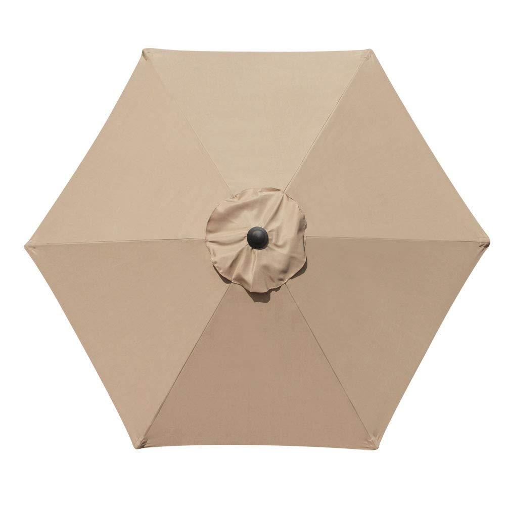 Blissun 7.5 ft Patio Umbrella, Yard Umbrella Push Button Tilt Crank Tan
