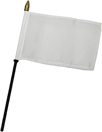 "Solid White Plain Flag 4/""x6/"" Desk Table Stick"