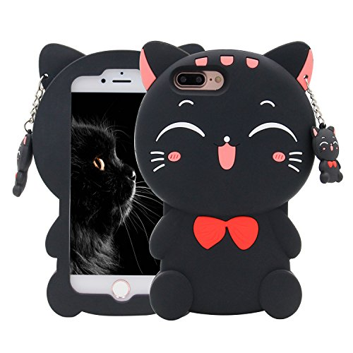 iPhone 7 Plus Case, MC Fashion 3D Lucky Fortune Cat Kitty with Cute Bow Tie Silicone Phone Case Cover for Apple iPhone 7 Plus (2016) and iPhone 8 Plus (2017) (Black)