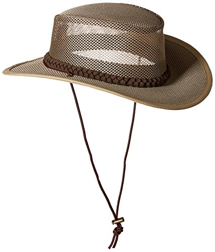 Stetson Men's Mesh Safari Hat, Mushroom, (Dorfman Pacific Mesh Safari Hat)