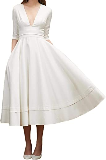 P L X V Neck Satin Simple Garden Wedding Dresses With Sleeves Vintage Bridal Gown At Amazon Women S Clothing Store