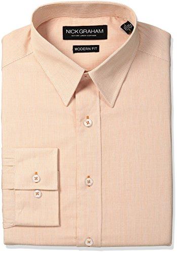 Nick Graham Men's Micro Check Cotton Dress Shirt, Orange,...