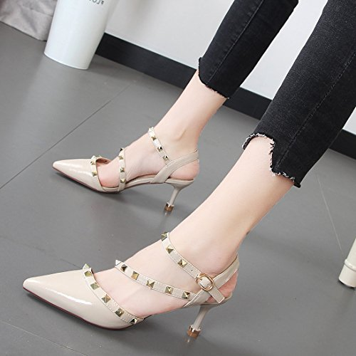remaches de alto de correa delgado Ranurados mujer ligero punta zapatos para Xue Qiqi en Beige cruzada y blanco de tacón sandalias xw87aS